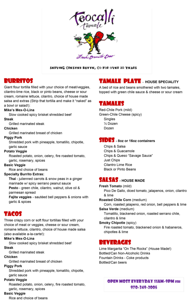 Teocalli Tamale Crested Butte Burrito and Taco Restaurant-Menu-for-Website